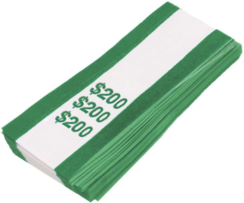 Pre-Sealed Green Bill Straps - Holds $200