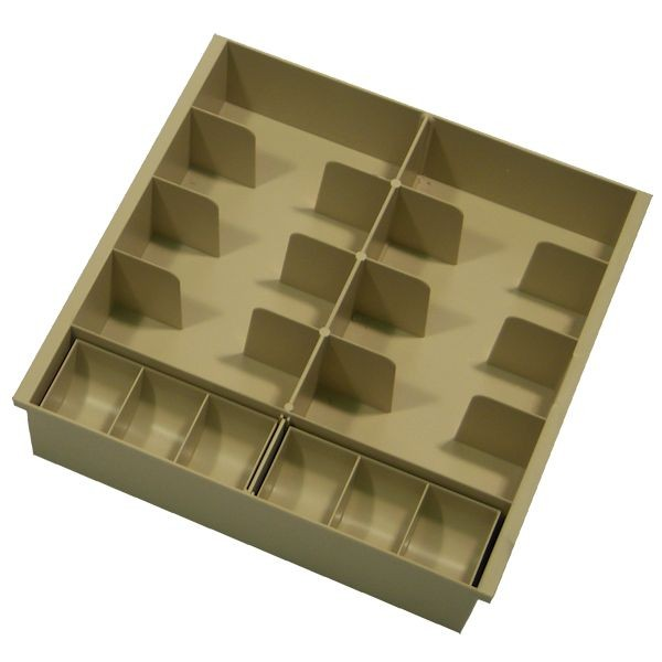 Champagne Plastic Cash Tray - 8 compartments, with removable coin scoops