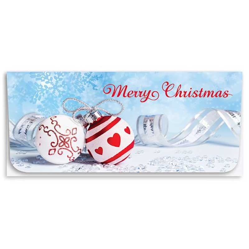 Holiday Currency Envelopes - Merry Christmas - Red & White Ornaments