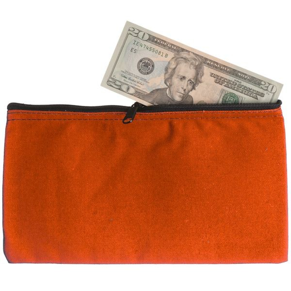 10-1/2W x 5-1/2H Zipper Bags - Orange Canvas