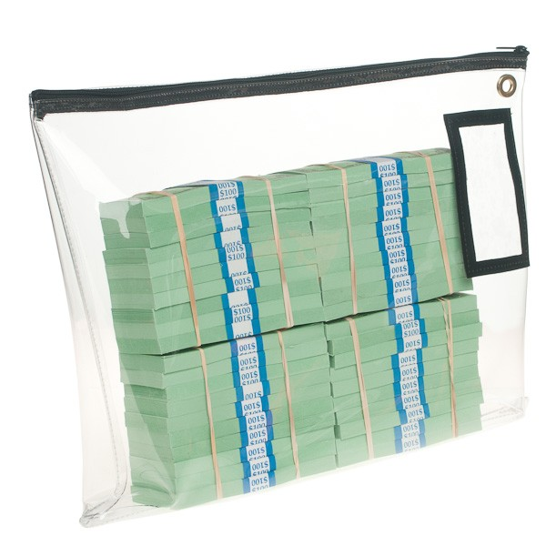 18W x 14H Clear Vinyl Large Zipper Bag - Stock