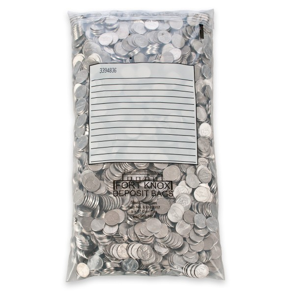 9W x 17H Self Sealing Coin Bags w/White Block - 500/CS