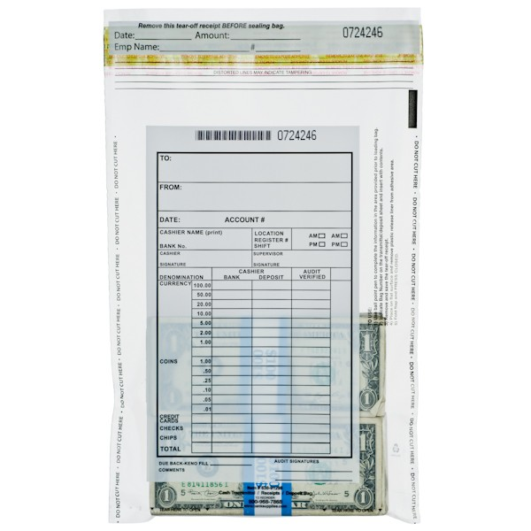 9W x 12H Cash Transmittal Bags - Perforated