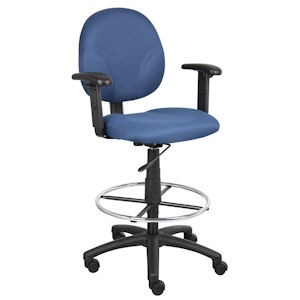 Blue Cashier Stool with Adjustable Arms