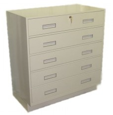Silverline Ped w/5 Full Width Drawers-Lock-Top Drawer Only