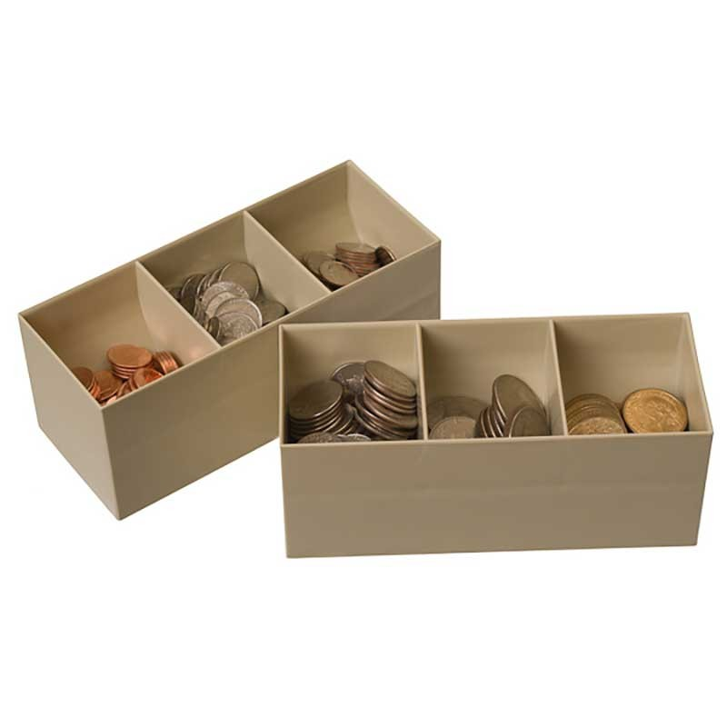 Plastic Coin Scoops - 3 compartments