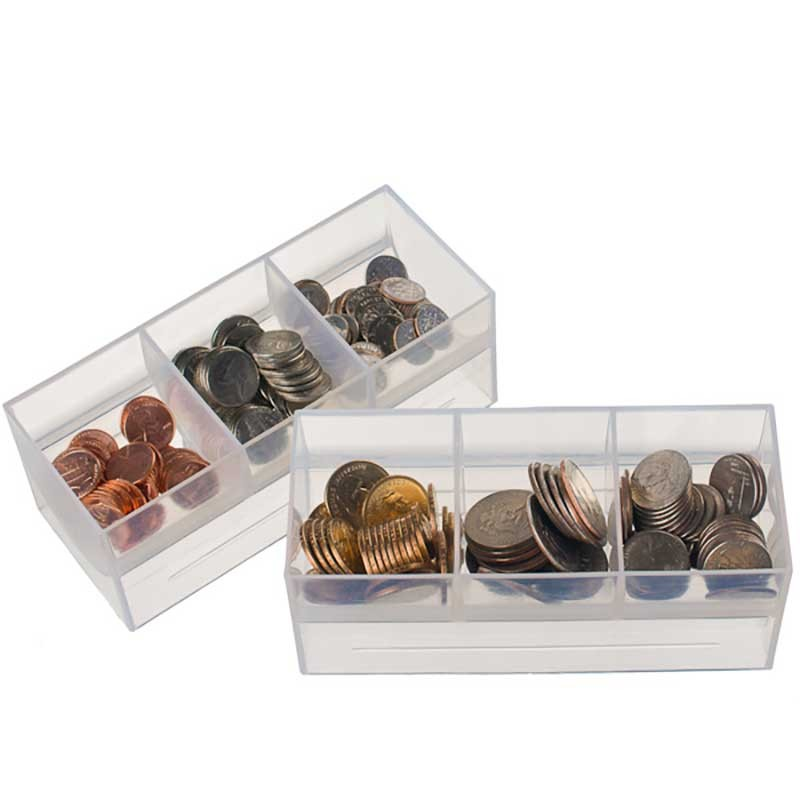 Clear Plastic Coin Scoops - 3 compartments