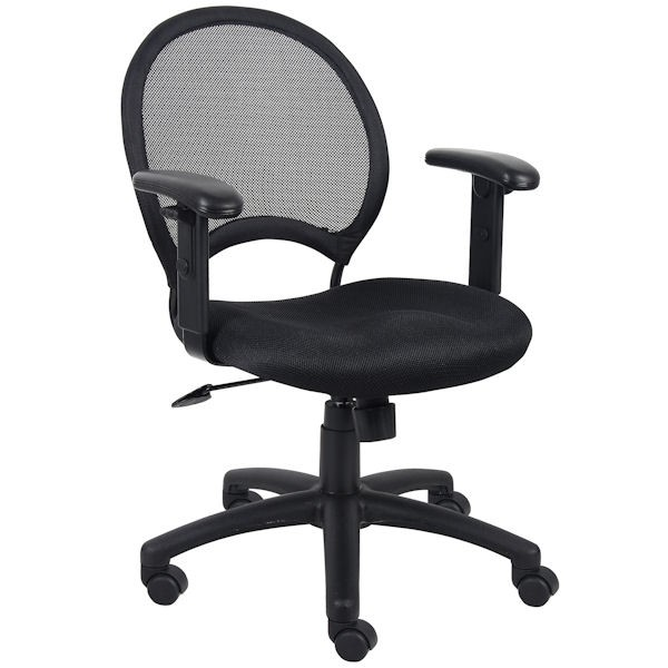 Black Mesh-Back Ergonomic Chair with Adjustable Arms